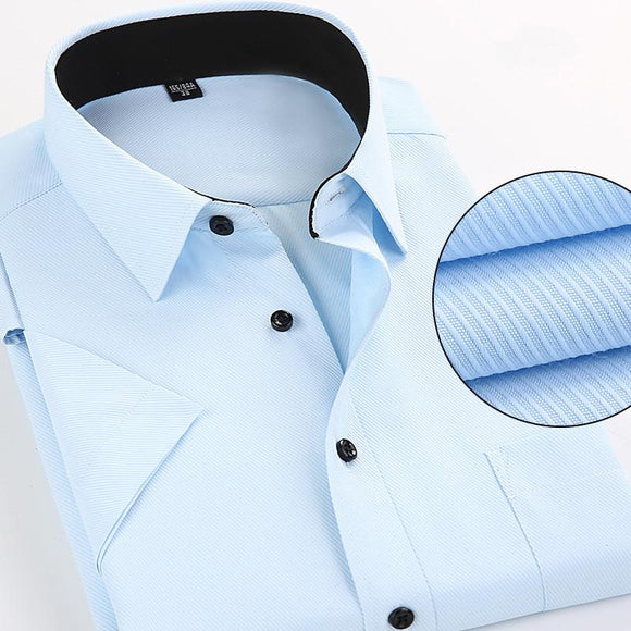 Men's Short Sleeve Shirts Casual high quality Summer Solid Color Formals dress shirt for Men's Shirts Slim fit Plus Size M-4XL