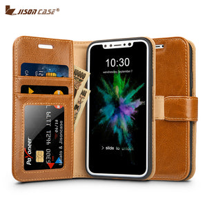 Jisoncase for iPhone X Wallet Case Cover Genuine Leather Luxury Magnetic Back Cover for iPhone X Edition Case with Card Slots