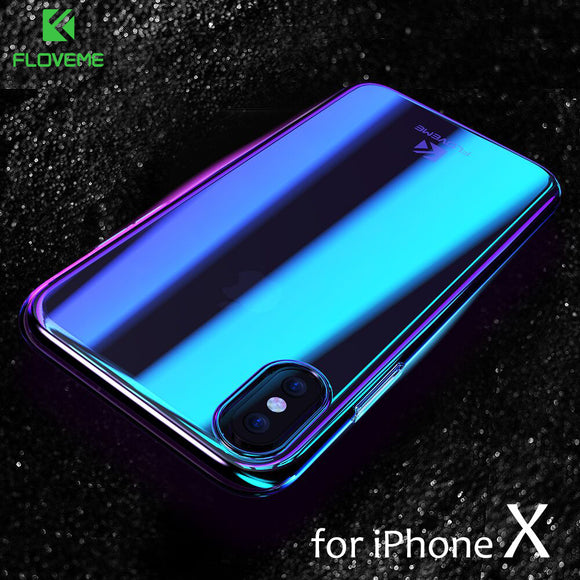 FLOVEME Phone Cases For iPhone X Luxury Blue Ray Fashion Mobile Accessories Gradient Hard Case for iPhone X 5.8 inch Conque Capa