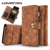 LOVECOM For iphone X Case Leather Flip Wallet Multifunction Magnetic 2 in 1 Phone Case For iPhone 5 5S SE 6 6S 7 Plus Cover
