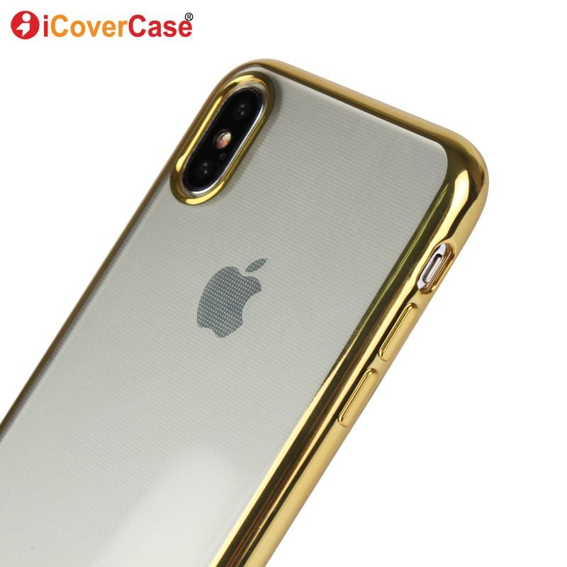 pretty nice dc495 96c0f Phone Cases For iPhone X Cover Coque Luxury Gold Plating Gilded Clear Soft  TPU Case Silicone Back Cover For Apple iPhone X Case