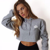 2017 New Fashion Women Sexy Letter Lips Cropped Hoodies Short Hooded Pullover Jumper Long Sleeve Crop Top Sweatshirts Sportswear