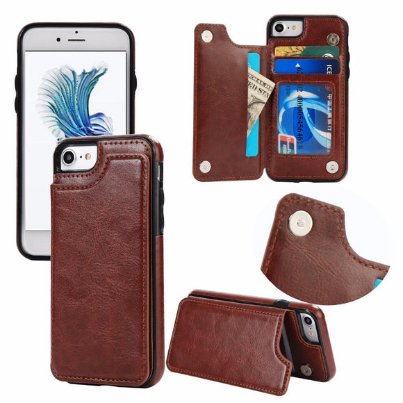 Leather Flip Stand Case for iPhone 6 6s Plus 7 8 Plus X Case Card Slot Holster Buckle Cover for Samsung S7 Edge S8 / Plus Case