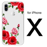 TOMKAS Flower Case For iPhone X 8 7 6 6s 5 5s SE Floral Red Rose Clear Silicone Phone Bags Cover For iPhone 7 Plus 6 Plus Cases