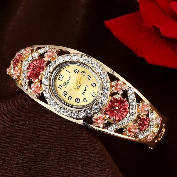 Bangle Metal Watch Bracelets Gift New LVPAI Top Brand Luxury Flower Crystal Rhinestone Watches Women Fashion Watch 2017