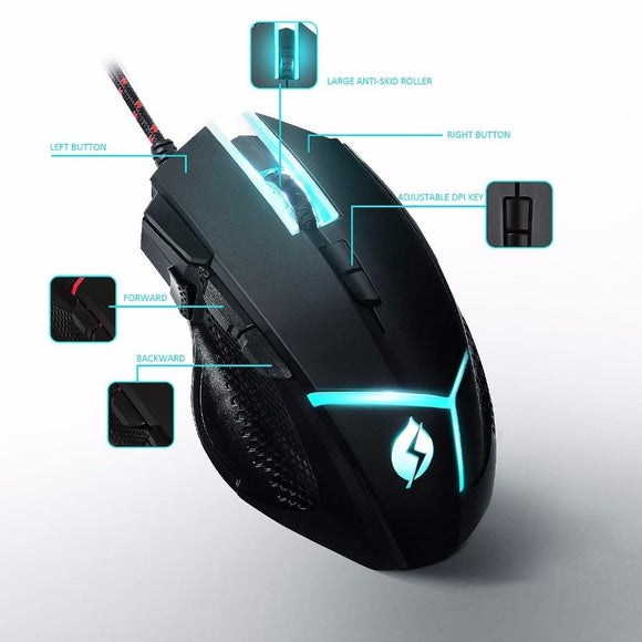 M18 Professional Gaming Mouse Adjustable Weight, 4000 dpi and 8 DPI Adjustment Levels Support Programming