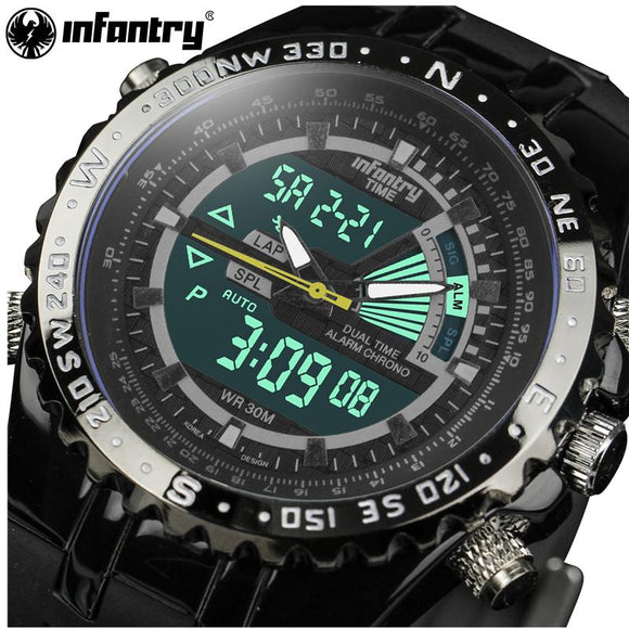 Genuine INFANTRY Luxury Brand Analog LED Watches Men Rubber Quartz Clock Men's Tactical Chronograph Sports Wrist Watch Relogios