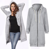 Oversized 2017 New Autumn Women Casual Long Hoodies Sweatshirt Coat Fashion Pockets Zip Up Outerwear Hooded Jacket Plus Size Top