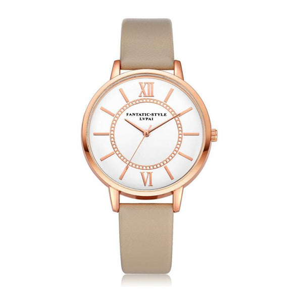 LVPAI Rose Gold Watches Women Fashion Watch 2017 Top Brand Luxury PU Leather Metal Watch Bracelets Discount Relogio Feminino