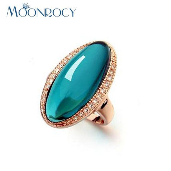 MOONROCY Fashion Jewelry Rose Gold Color Green Austrian Crystal Hyperbole CZ Rings for Women Gift