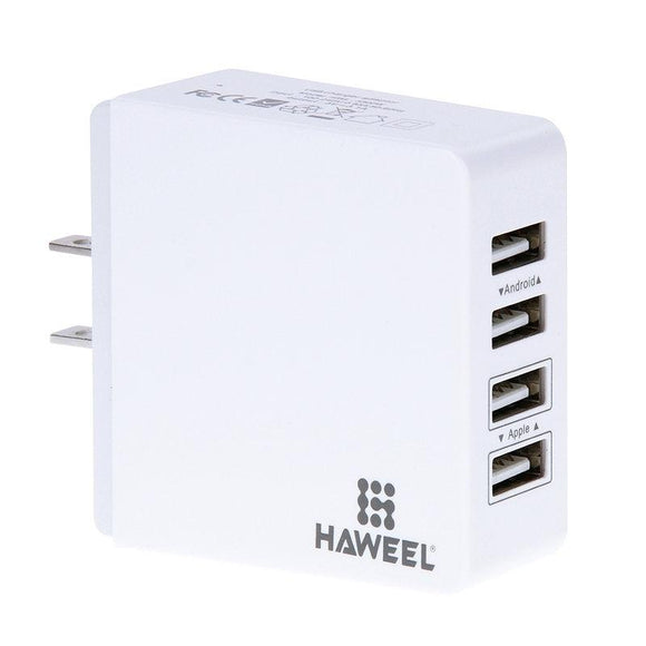 HAWEEL 4 Ports USB Max 3.1A Travel Wall Charger for Android & IOS Mobile Phones US Plug