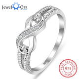 JewelOra Genuine 925 Sterling Silver Jewelry Brand Rings For Women Wedding Lady Infinity Ring Size Gift