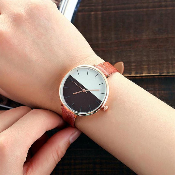 Women's Simple Watches 2017 Hot Design Big Dial PU Leather Women Watches Gift Montre Femme Metal Watch Bracelets