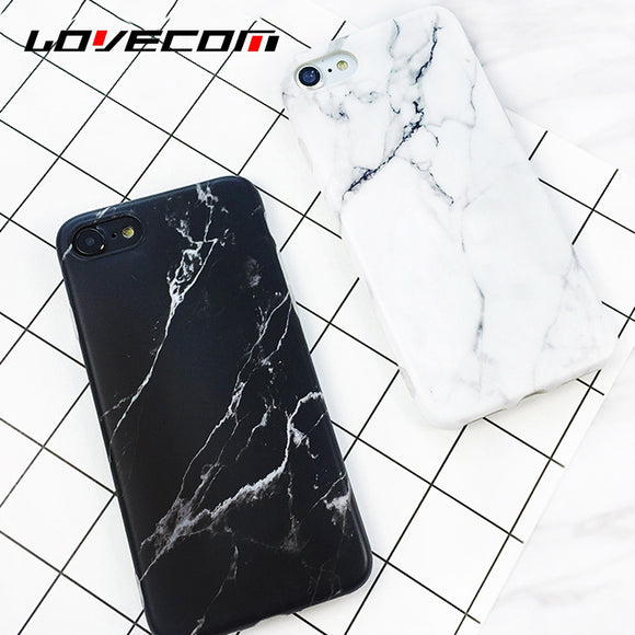LOVECOM Black White Marble Vein Soft IMD Phone Back Cover Case For iPhone 6 6S 7 8 Plus Anti-Knock Cases For iPhone6 Shells Capa