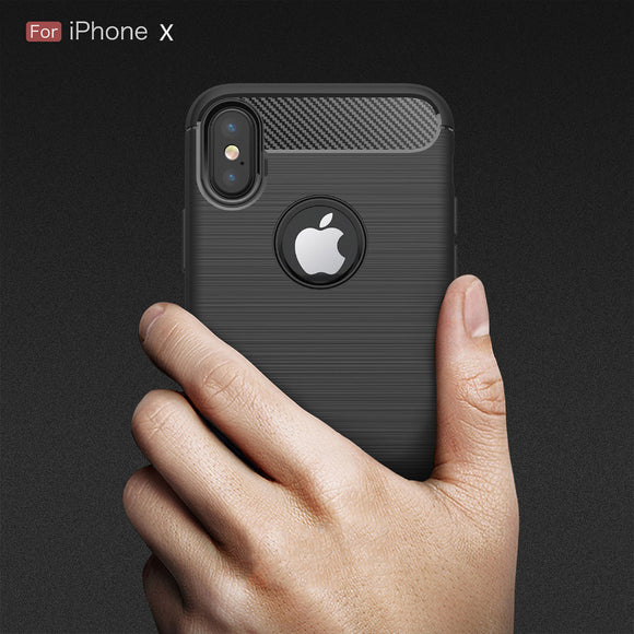Soft Silicone TPU Carbon Fiber Case for iPhone X Cover Coque Luxury Shockproof Armor Full Cover Protection for iPhone X Case P15