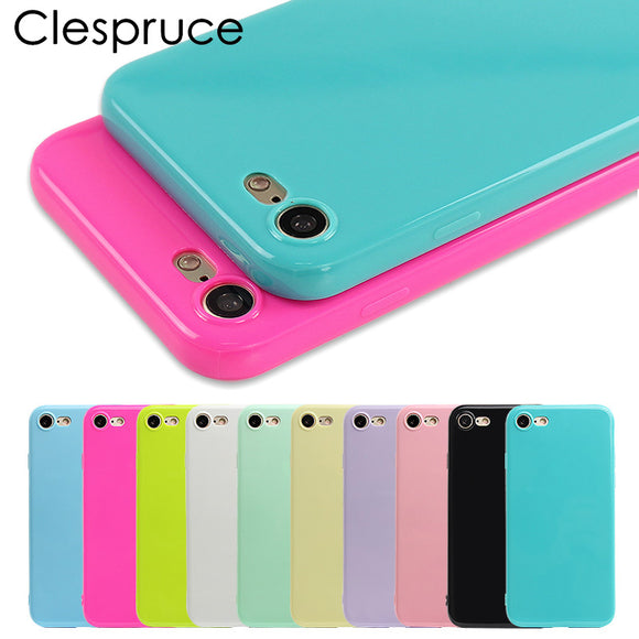 Clespruce Fashion Candy Jelly Soft TPU Silicone Shockproof Case for iPhone X 7 8 Plus Cell Phone Case For iPhone 6 6s 7 Plus SE