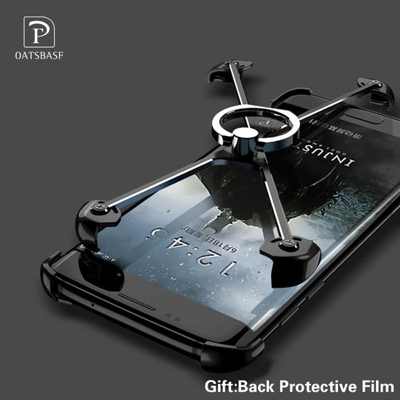 X Shape Ring Bracket Case for Samsung S7 Edge Luxury Personality Shell for Galaxy S7 edge Plus + S8 Metal Border &Ring Holder