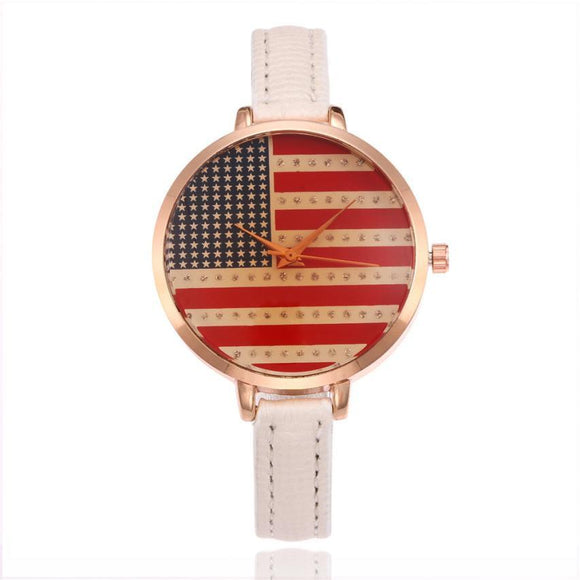 Malloom Flag Metal Watch Bracelets 2017 Hot Design Small Band PU Leather Quartz Watches Women Clock Gift Watches Relogio
