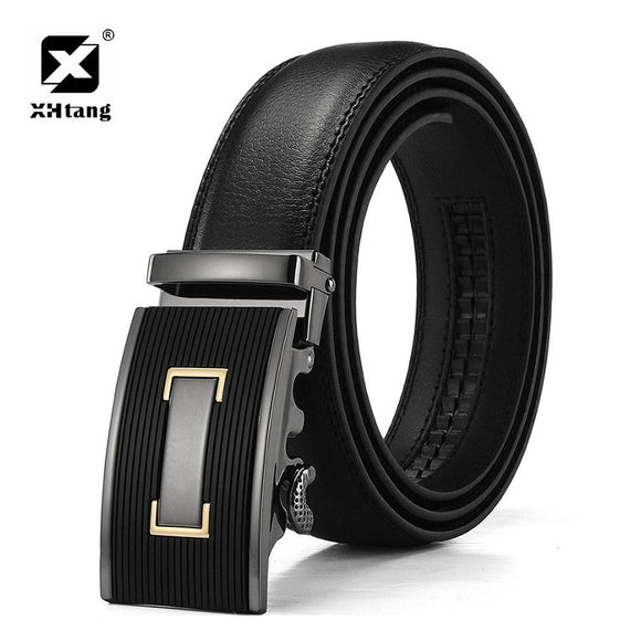 XHTANG Genuine Leather Ratchet Belt Men 3.5cm Automatic Buckle Belt Elegant Black Strap Waistband Fashion Belt for Jeans Gift