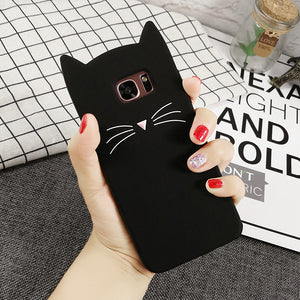 Fashion Silicone Cartoon Case For Samsung Galaxy S5 S6 S7 Edge S8 Plus A3 A5 A7 2017 J3 J5 J7 Prime Note 8 5 4 Beard Cat Cover
