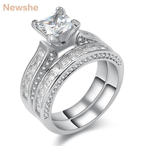 Newshe Princess Cut CZ Sliver Plated Wedding Ring Set Engagement Band Classic Jewelry For Women