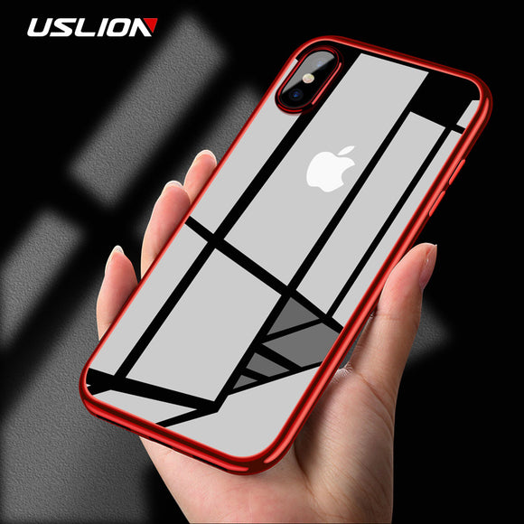 USLION Transparent Phone Case For iPhone X 10 Luxury Electroplating Soft TPU Full Protect Back Cases Clear Cover For iPhoneX