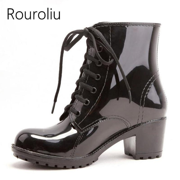 Rouroliu PVC High Heels Rain Boots Women Lace-Up Waterproof Ankle Rainboots Water Shoes Woman Wellies Multi Colors TS49