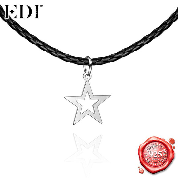EDI Gothic Punk Silver Choker Necklace for Women 925 Sterling Silver Fashion Star Pendant Adjustable Chains Party Fine Jewely