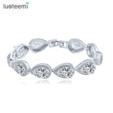 LUOTEEMI Brand Luxury Fashion Bracelet for Women Big Teardrop Clear Cubic Zircon Crystal Jewelry
