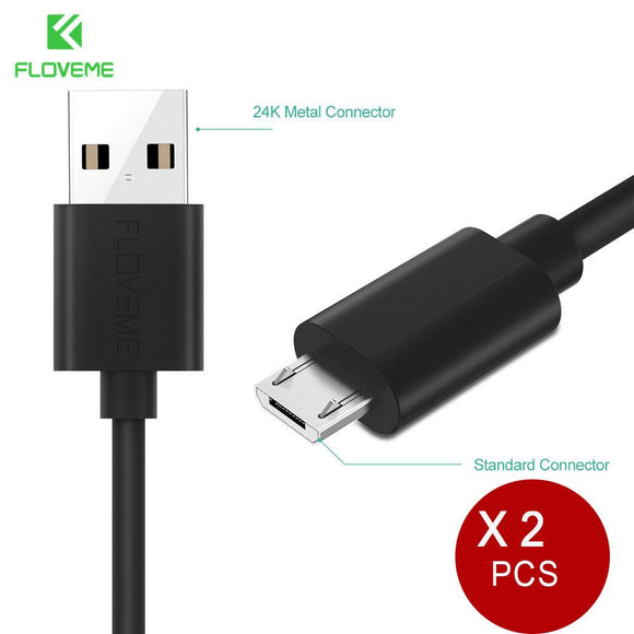 FLOVEME Micro USB Cable For Android Device Two Forms Of Micro Interface Data PVC Aluminum For Samsung For Xiaomi Cable 2pcs/lot