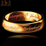 2017 Magic Letter The Lord of One Ring Black Silver Gold Titanium Stainless Steel Ring for Men Women