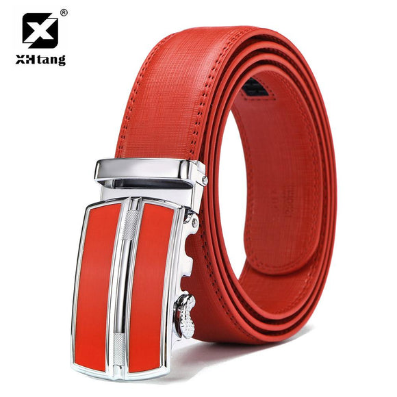 XHTANG Luxury Genuine Leather Belt Men Fashion Red Automatic Buckle Belt Casual Belt for Jeans 2017 Top Brand Elegant Male Gift