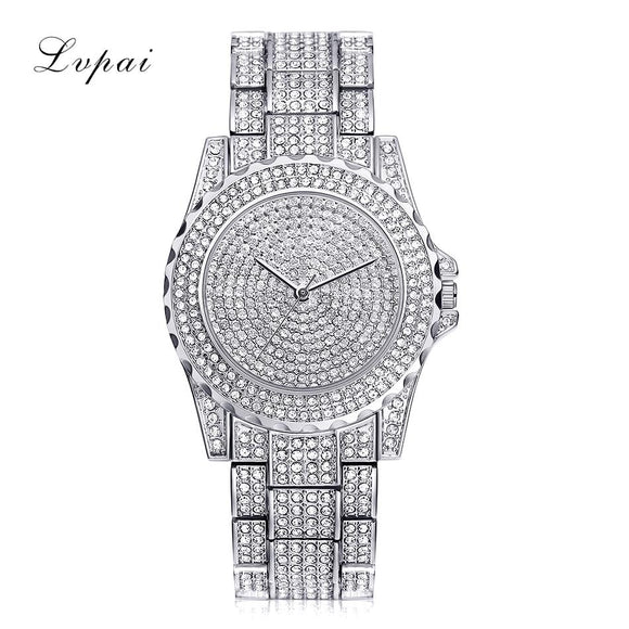 Lvpai Top Brand Silver Luxury Women Dress Watch Rhinestone Ceramic Crystal Quartz Watches Magic Women Wrist Watch Female LP033