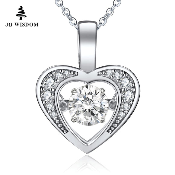 JO WISDOM Romantic Heart pendant 925 Sterling Silver Necklace Diamond Dancing Natural Stone For Women Valentine's Day