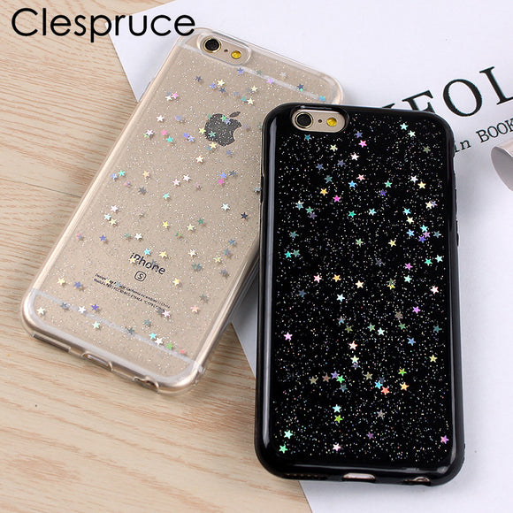 Clespruce Transparent Sequins Glitter Star Quicksand Colorful Sequin soft Back cover For iPhone X 8 8plus 6 6s 7 plus 5s SE Case