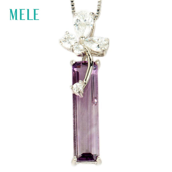 MELE Natural amethyst silver pendant, light purple color in rectangle 5mm*20mm, top selling, good quality for wholesale