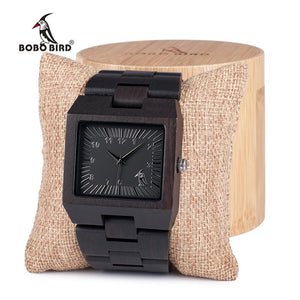 BOBO BIRD Ebony Wooden Rectangle Quartz Wrist Watch Mens Top Luxury Band with All Wooden Band in Gift Box relogio masculino