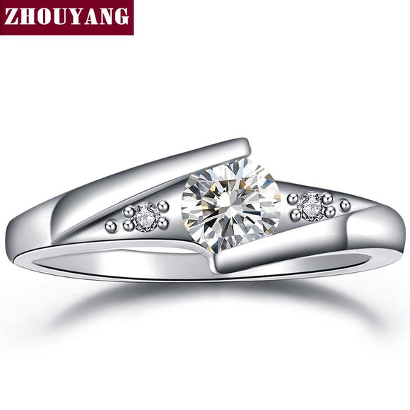 Classical Silver Color Cubic Zirconia Fashion Wedding & Engagement Ring Jewelry For Women