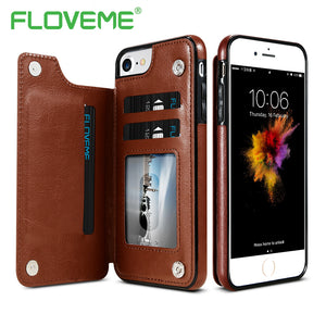 FLOVEME Luxury Wallet Case For iPhone 6 6S Plus X Bracket Type Leather Card Holder Kickstand Flip Back Cover For iPhone 7 7 Plus