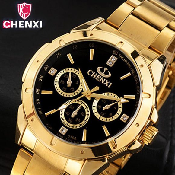CHENXI Luxury Gold Men's Watches Unique Business Dress Wristwatch for Man Woman Lover's Clock Golden Waterproof Male Female Gift