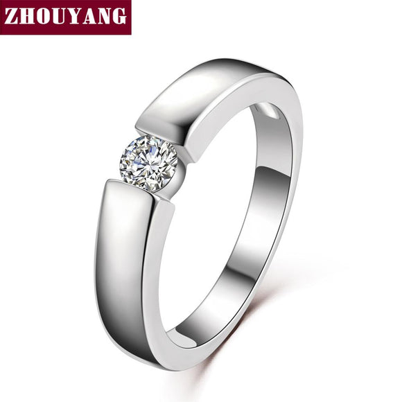 ZHOUYANG 4.5mm Hearts and Arrows Cubic Zirconia Wedding Ring Rose Gold & Silver Color Classical Finger Ring
