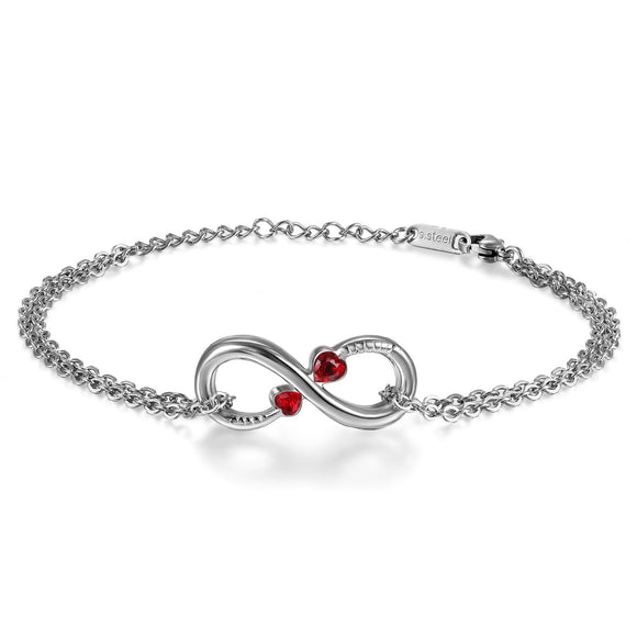 BONISKISS Ladies Stainless Steel Infinity Love Charm With Colored Heart Shape CZ Crystal Accent Bracelet