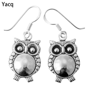 YACQ 925 Sterling Silver Owl Dangle Earrings Birthday Party Jewelry Gifts for Women Wife Her Girls Girlfriend ping CE16