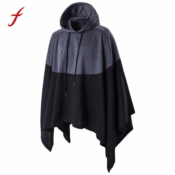 sweatshirts Autumn Mens Irregular Patchwork Loose Bat Sleeves Hooded Poncho Cape Coat Outwear Tops Work Daily Casual M to 5XL