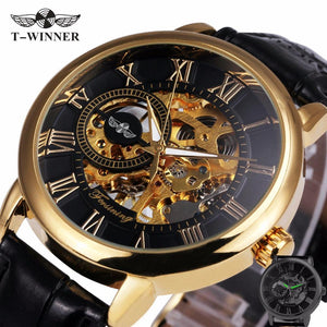 2017 WINNER Dress Fashion Men Mechanical Watch Skeleton Dial Roman Number Concise Design Wristwatch Best Business Gift + BOX