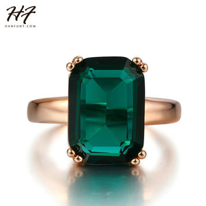 New Rose Gold Color Ring Fashion Red/Green Big Square Crystal Wedding Jewelry For Women