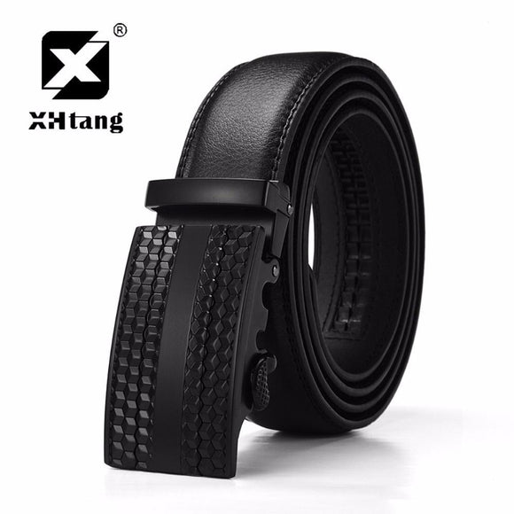 XHTANG Men's Genuine Leather Ratchet Belt Automatic Buckle Belt 3.5 cm Black Strap Jeans Gift Elegant Belt for Men Business
