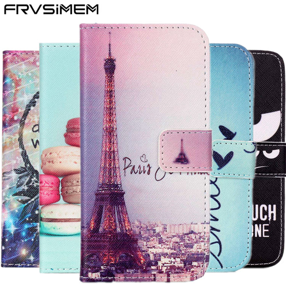 FRVSIMEM Popular Art Pattern Flip Leather Wallet Case for Samsung Galaxy S3 S4 S5 Neo S6 S7 Edge S8 Plus Stand Cover Phone Cases