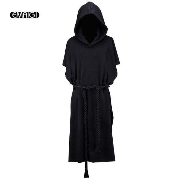 New Men Hooded Sweatshirt Coat Men Street Fashion Short Bat Sleeve Belt Loose Long Hoodie Cloak outerwear Gothic Punk Style