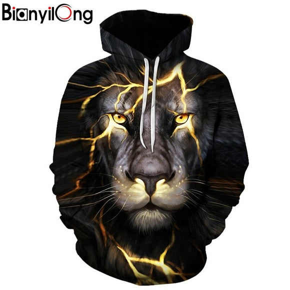 BIANYILONG New Fashion Men/Women 3d Sweatshirts Print Paisley Lightning Lion Hoodies Autumn Winter Thin Hooded Pullovers Tops
